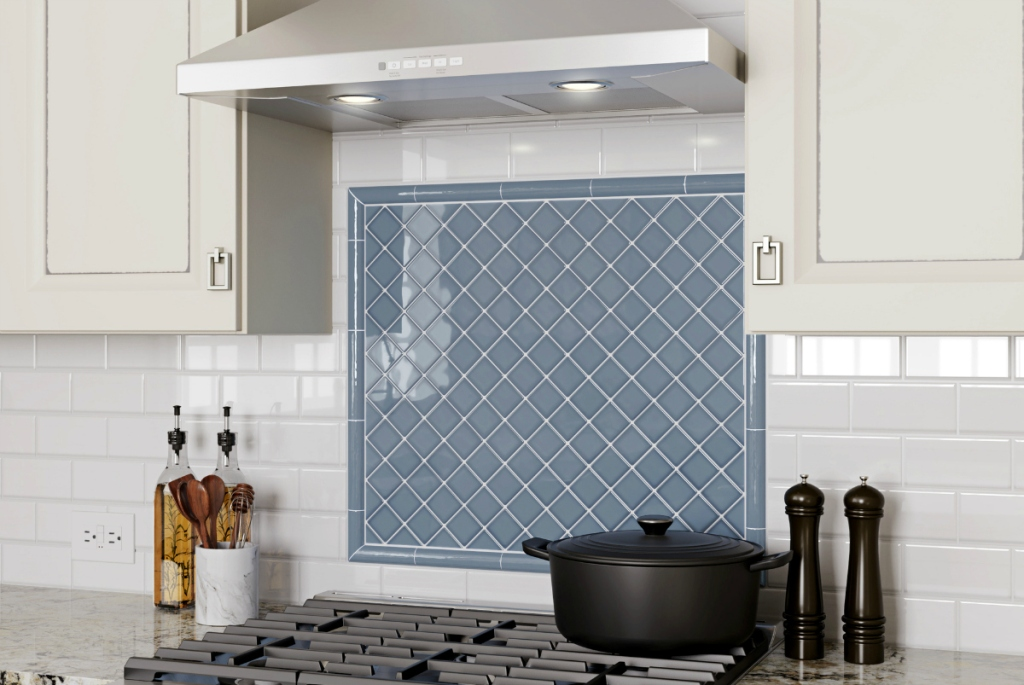 blue wall tiles in kitchen