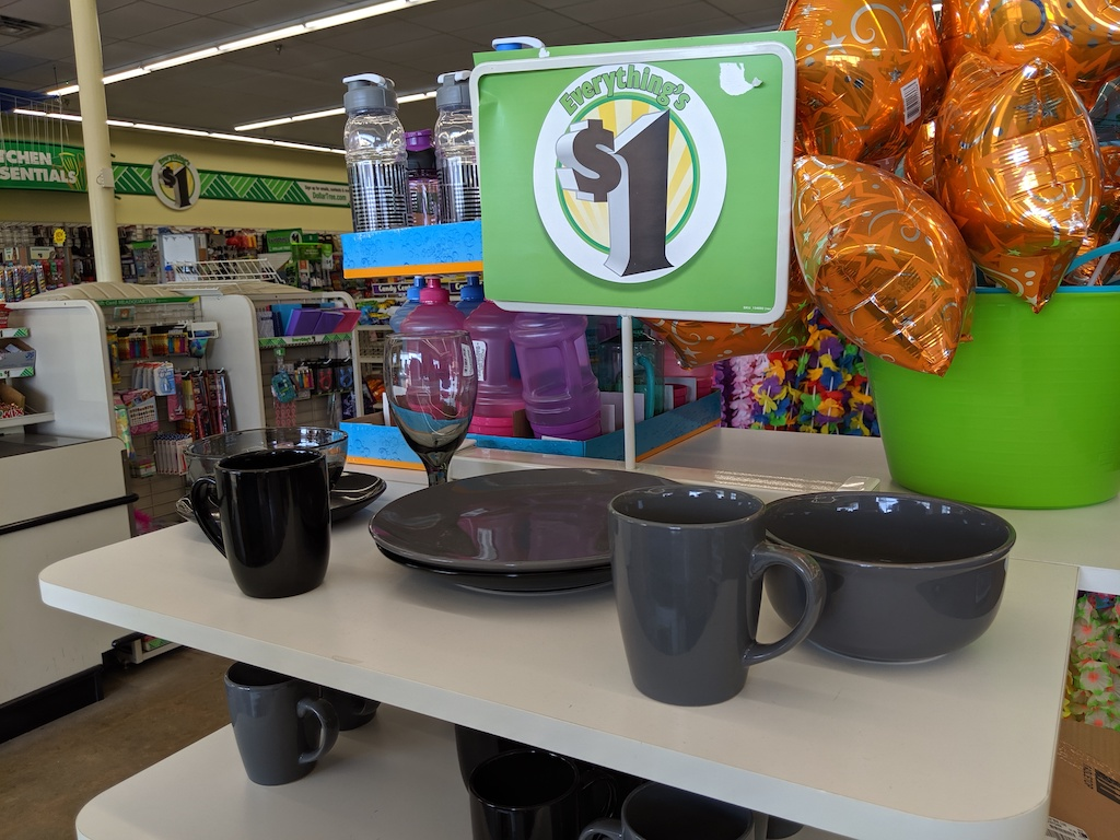 dishes at Dollar Tree with $1 sign