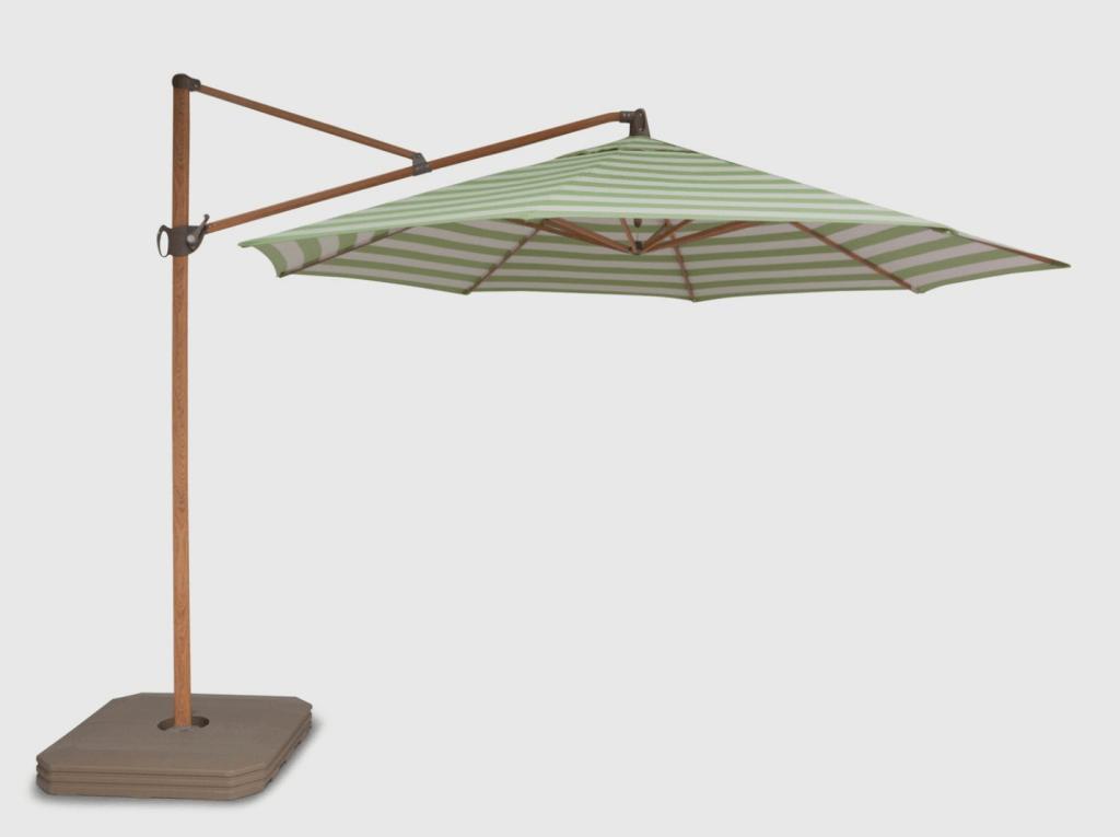 free standing striped umbrella