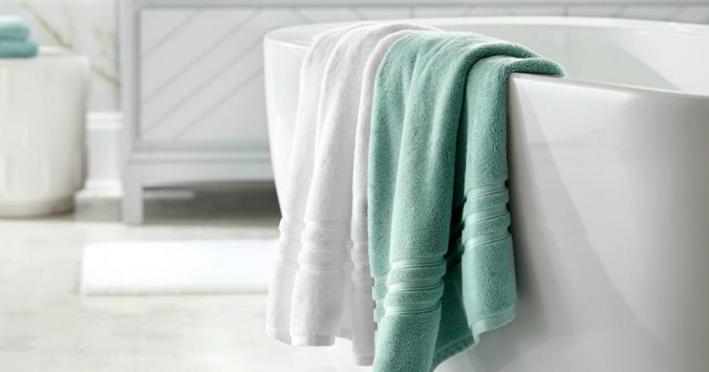 Home Decorators Collection towels over bath tub