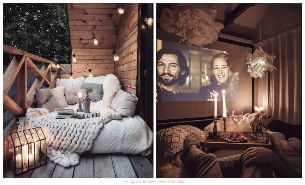 two pictures of hygge homes with cozy atmospheres
