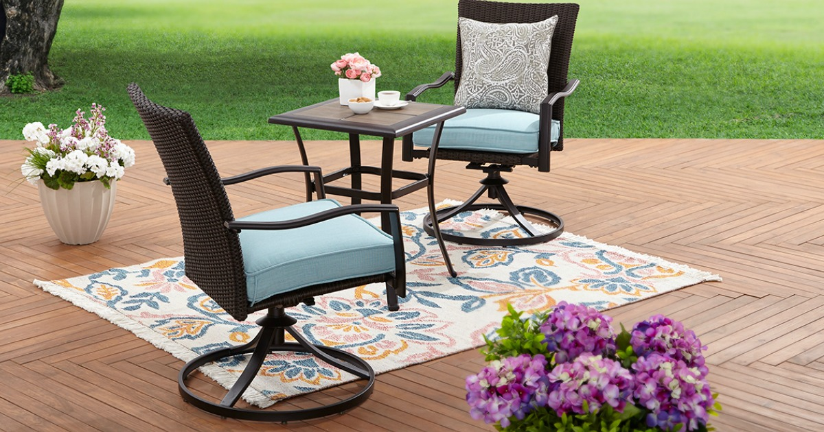 patio furniture set with outdoor rug