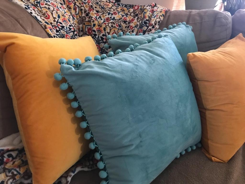 vevlet pillows on couch