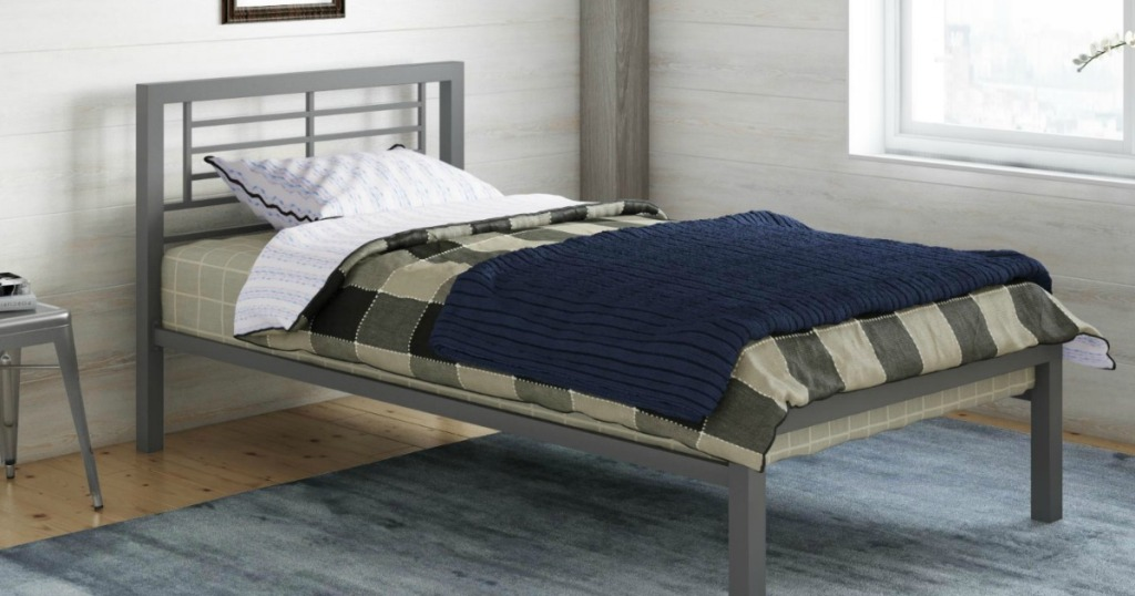 metal twin platform bed in kids bedroom
