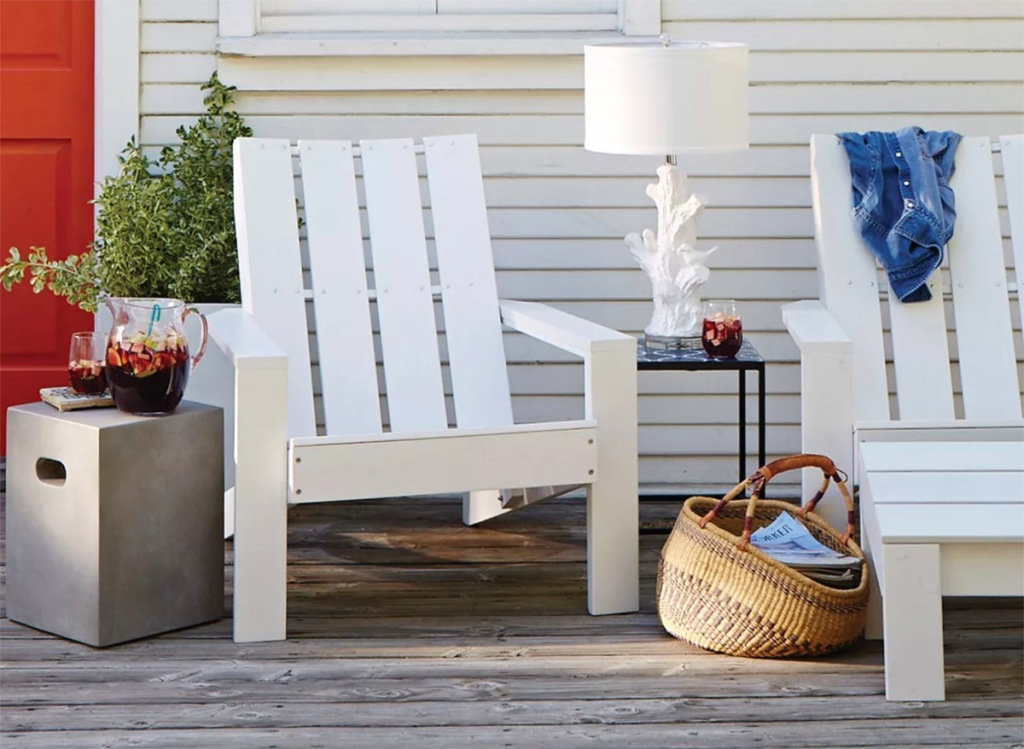 wood patio adirondack chairs on deck