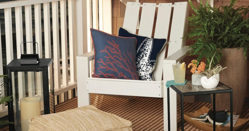 White Wood Patio Adirondack Chair on front porch