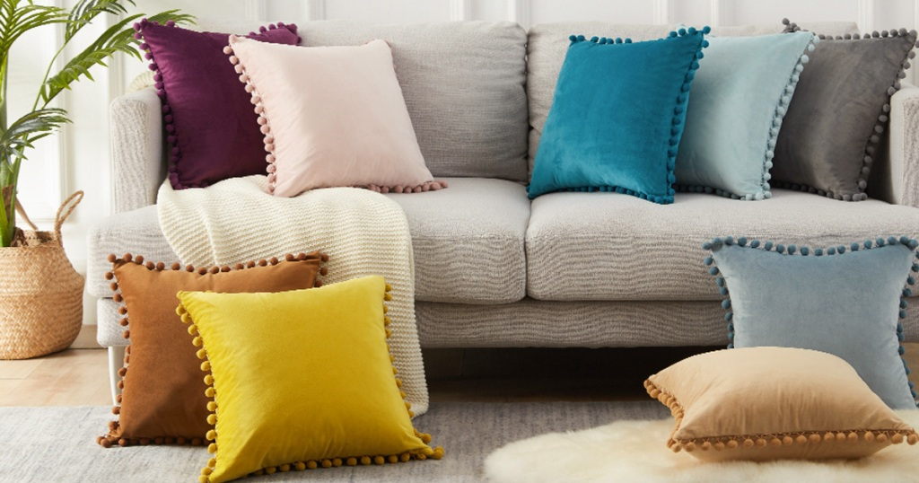 velvet pom pom pillow covers